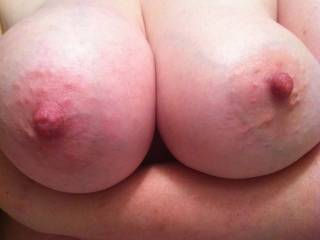 Great tits!  I'd love to kiss, suck and nibble on them.....when your nipples are long and hard I'll tug on them with my teeth... and roll them in my fingers...