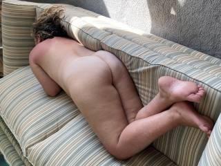 Bent over ass up.