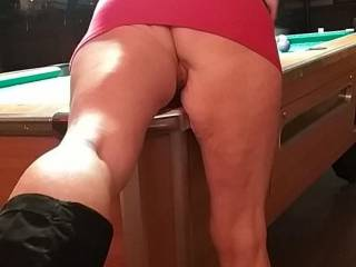 She likes to play pool sometimes and she has got very good at it .Wonder why ?
