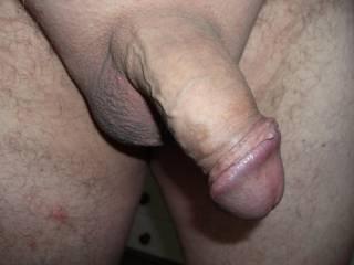 pulled back my foreskin on freshly shaved cock