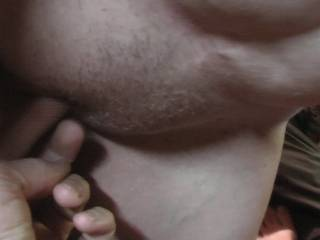 Watching Mrs Redwoods rub her tits while I have a little play with her pussy .