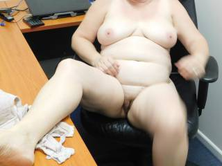 Naughty secretary totally nude now.