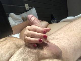 My BBW Mature wife giving a handjob while reading