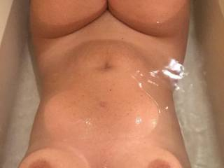 My beautiful wife in the tub...love her tits