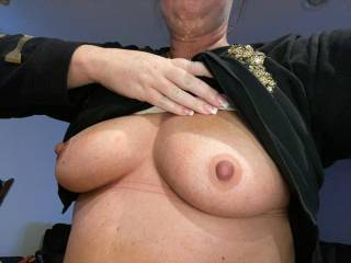 showing off her tits before getting fucked hard...