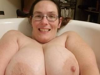 Bath time is always a good time to show off.