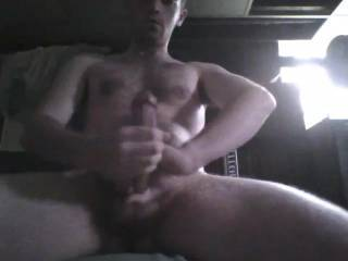 Am not into guys but my lady friend saw this and I had to say we think you got a nice cock and looks like you know how to use it!