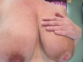 Want me to pull out and shoot all over your lovely big tits, or cum in your mouth and then have you dribble it all over your own tits? :D