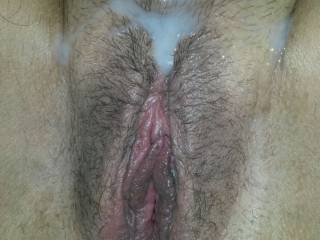pulled out and seeded this sluts hairy cunt