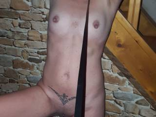 Pris handcuffed and ready for bondage...after that she was so excited she sucked me rims and then made me cum with blowjob and finger in my ass....I came with a huge load in her mouth