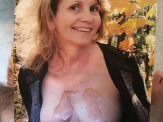 Mrs G leaning in to get a nice cum on her beautiful tits