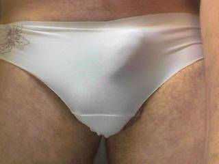 Terrific picture.  Great panties!  A big hard cock bulging in white panties is so sexy.