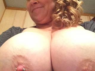 Wow so hot love to have my cock in between those and suck the nipple jewelry love those nips