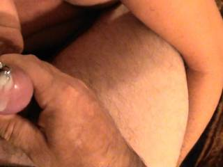 Series of 5 pictures of Girlfriend sucking my dick and balls until I cum. She stuffed my dick with a Penis Plug just before we got started. Felt amazing having her suck on me with the Plug in and cumming through the Plug.  Has anybody else tried this???