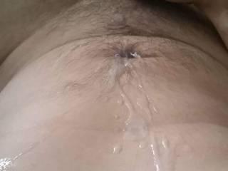 Super wank after work, sprayed the cum all over myself