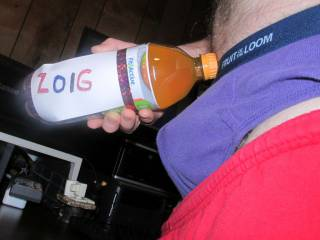 A view of my bulge,underwear wet spot and slight peak at my hair,while holding my beverage.
