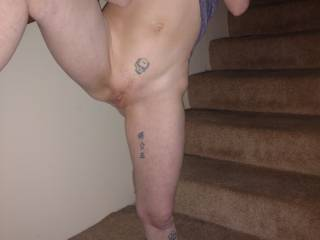 Posing on the stairs for hubby