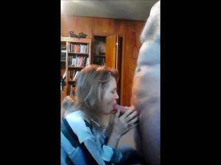 Mrs. Gsplash sucking a guys cock to get his cum, sucks it to the balls pulls out his cum & swallows it all.  Does she know how to suck it ok?