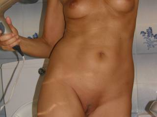 Another photo of her new pussy-bald-type Do you prefere it shaved or trimed ?