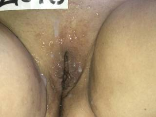 My Shaved, Used Pussy Covered in Cum..