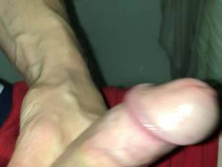 Me jerking my oiled up cock