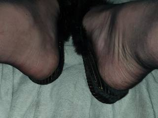 My small dick and sexy black and gold slippers