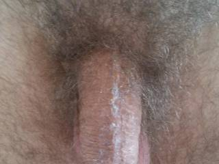 """Post spunk off cunt slimed penis - the result of recalling while having one-on-one sex last weekend's bareback MFM including both me and our friend getting """"sloppy seconds"""".  Very yummy horny thoughts."""