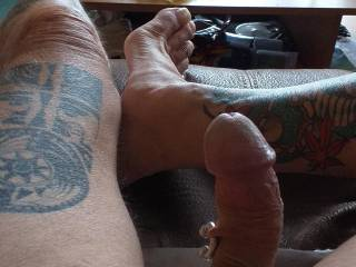 My hard curved cock