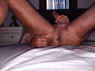 As I\'m jerking off do you want to.. A  tongue fuck me  B. Use a finger or 3  C. use one or more of my many prostate toys on me  D. All of the above E. Make me do it all to myself as you watch and take pictures and videos