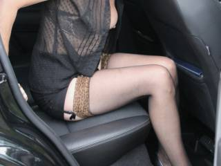 Having fun in the car outdoors for anyone watching
