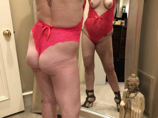 Modeling some new lingerie with a friend.  He seemed to like what he saw.  Anything here interest anyone?  We are always looking for a third!