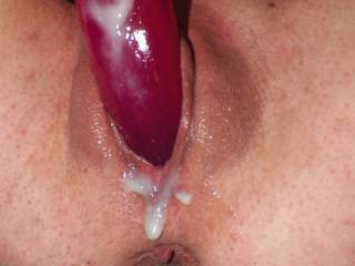 a request for toy play pics so..... a real good dildo session.  my pussy was so hot and creamy.  mmm wanna clean me up?  (no cock was involved)