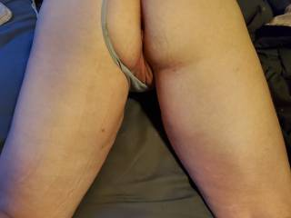 My wife bent over, waiting for some cock.