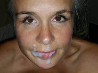 Facial after pink thong pearl shoot...getting ready to freak hubby out ..bc this facial i use to blow cum bubbles and then brush my teeth with cum
