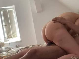 Riding on top feeling his cock all the way in into my wet pussy, like how my big ass bounce?? 🙈