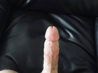 Looking down at my throbbing cock. Are you ready for it?