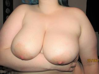 My wife showing us her big soft tits - wanna feel how soft they are?