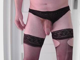 you look gr8 in lingerie, but looks like some new stockings are in order! lol