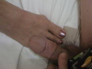 My cock and her sexy feet. Anyone wanna stick both of these in their mouth?