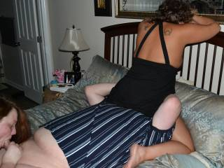 wifey sucking hubby\'s cock as wife of friend rides his face
