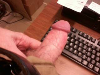 on line friend got me excited so I had to whip out my erect cock...at work!