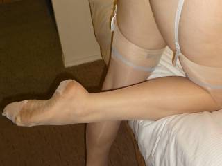 Molly in sexy white RHT vintage stockings...