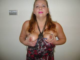 Wow, those are some amazing nipples! Love to be sucking on those while you're riding my cock.  ;)