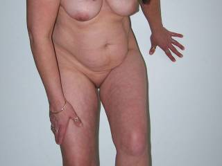 mature chubby milf stepping out of knickers!