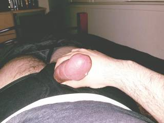 Masturbating my fat dick in bed on the night, with a precum shot. Ummm lol