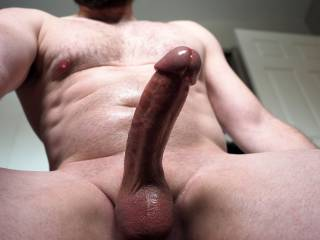 shaved and oiled up. just starting to precum.