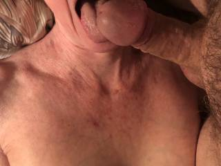 I never get tired of her soft tongue licking my old cock.