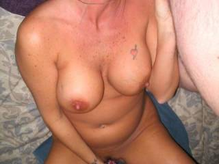 she loves to suck my cock  and play with her toy