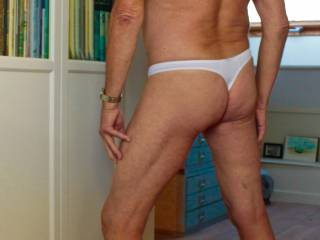New white thong, first time wearing it. Feels pretty good. Like it?