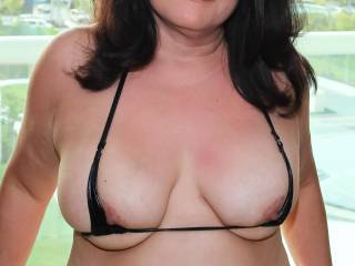 On vacation…tiny bikini top won't cover my nipples for long!